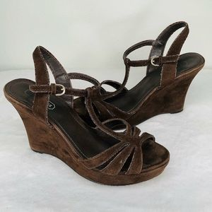 Coach Gabby Brown Suede Ankle Wedge Sandals 7.5